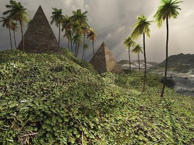 Two Pyramids Sit Majestically Among the Surrounding Jungle-Stocktrek Images-Photographic Print