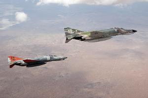Two Qf-4E Phantom Ii Drones in Formation over the New Mexico Desert