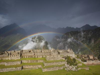 Two Rainbows Form Above the Ruins of Machu Picchu-Michael Melford-Photographic Print