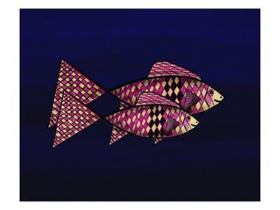 Two Red and Yellow Happy Fish-Rich LaPenna-Giclee Print