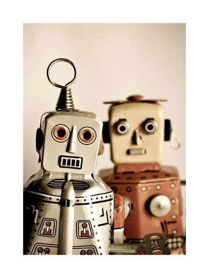 Two Retro Robot Toys-davinci-Art Print