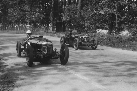 Two Riley Brooklands racing at Donington Park, Leicestershire, 1930s-Bill Brunell-Photographic Print