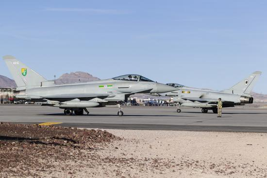 Two Royal Air Force Typhoon Fighters on the Ramp at Nellis Air Force Base, Nevada-Stocktrek Images-Photographic Print