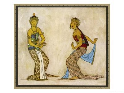 Two Royal Court Dancers Performing the Female Style of Javanese Dance-Tyra Kleen-Giclee Print