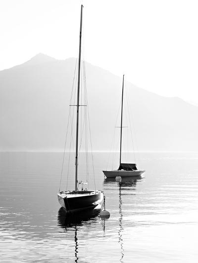 Two Sail Boats in Early Morning on the Mountain Lake. Black and White Photography. Salzkammergut, A-Kletr-Photographic Print