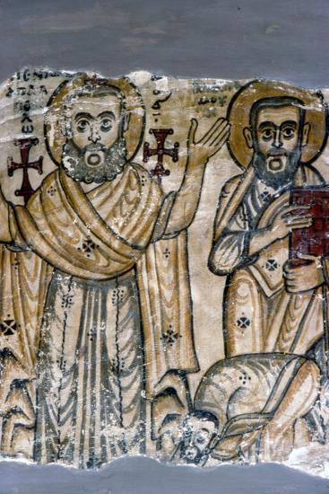 Two Saints, Coptic Wall Painting. Egypt, 6th century-Unknown-Giclee Print