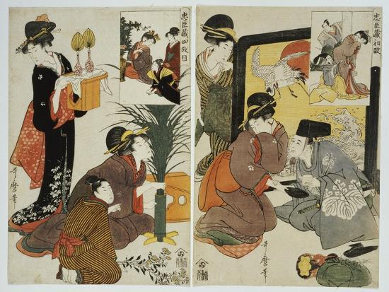 Two Scenes from the Series 'Loyal League' Depicting Everyday Life of an Edo Period Household-Kitagawa Utamaro-Giclee Print