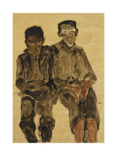Two Seated Boys-Egon Schiele-Giclee Print