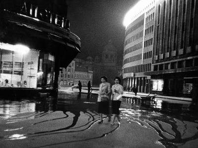 Two Serbian Women Walking Along a Street at Night, Belgrade--Photographic Print