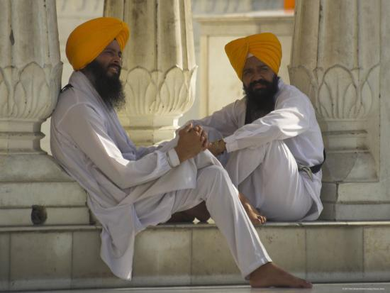 Two Sikhs Priests with Orange Turbans, Golden Temple, Punjab State-Eitan Simanor-Photographic Print