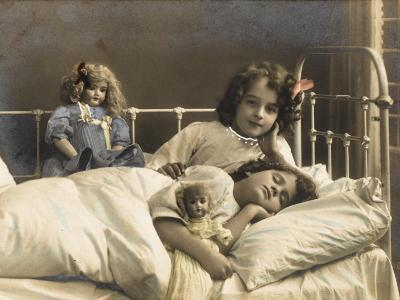 Two Sisters Prepare for Bed - and of Course their Dolls Come to Bed with Them--Photographic Print
