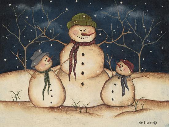 Two Snowmen-Kim Lewis-Art Print