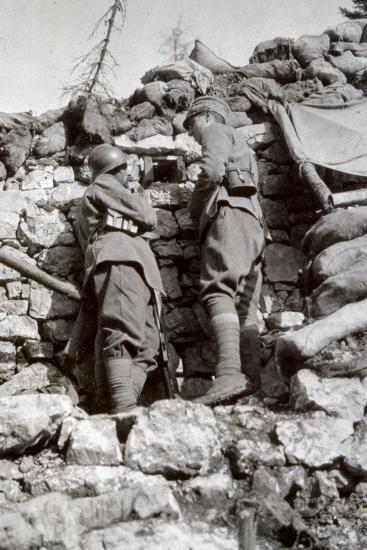 Two Soldiers on Lookout in an Italian Trench on Monte Zebio--Photographic Print