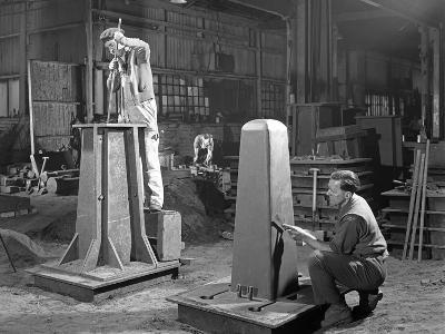Two Stages of Moulding a Steel Casting, Rotherham, South Yorkshire, 1963-Michael Walters-Photographic Print
