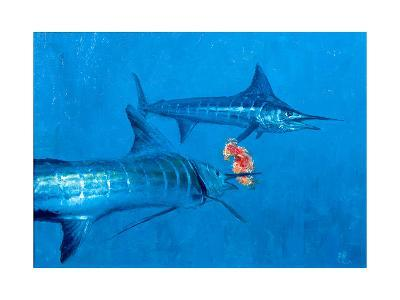 Two Striped Marlin and Iris Nudibranch-Stanley Meltzoff-Giclee Print