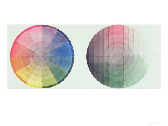 Two Studies of the Cross Section and Longitudinal Section of a Colour Globe, 1809-Philipp Otto Runge-Giclee Print