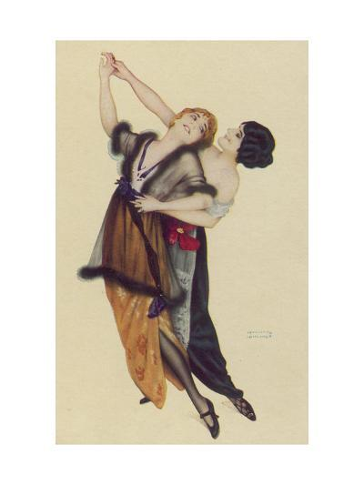 Two Stylishly Dressed Ladies Dance the Tango Stylishly Together-Ernst Ludwig Kirchner-Giclee Print