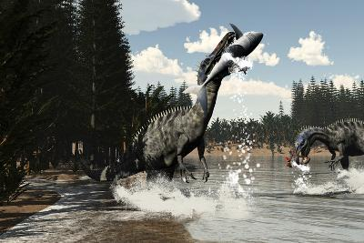 Two Suchomimus Dinosaurs Catch a Fish and Shark-Stocktrek Images-Art Print