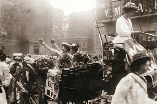 Two suffragettes celebrating their release from Holloway Prison, London, on 22 August 1908-Unknown-Photographic Print