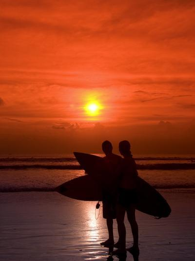 Two Surfers Calling it a Day, Kuta Beach, Bali, Indonesia, Southeast Asia, Asia-Richard Maschmeyer-Photographic Print