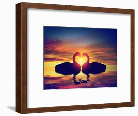 Two Swans Making a Heart Shape at Sunset. Valentine's Day Romantic Concept-Michal Bednarek-Framed Photographic Print