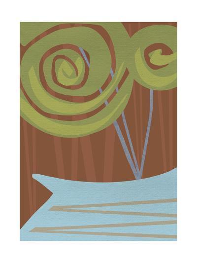 Two Swirly Flowers on Brown in Blue Vase--Art Print