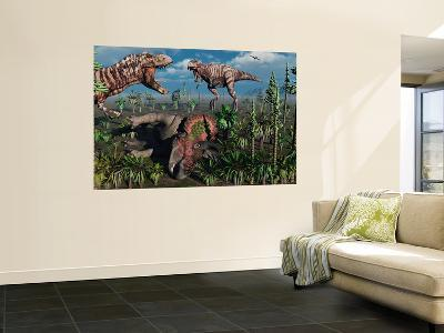 Two T. Rex Dinosaurs Confront Each Other over a Dead Triceratops-Stocktrek Images-Giant Art Print