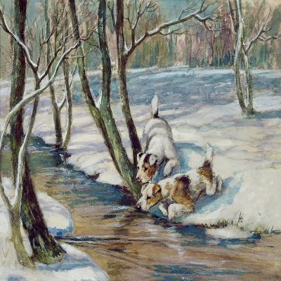Two Terriers in a Snowy Landscape, C.1930--Giclee Print