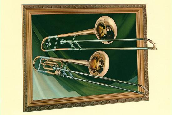 Two Trombones in Frame--Art Print