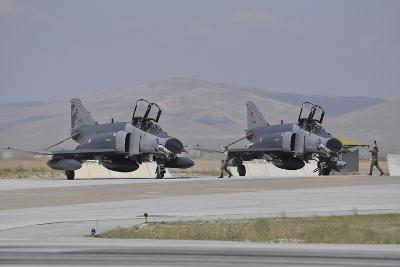 Two Turkish Air Force F-4E 2020 Terminator Aircraft Standby with Crew Chiefs-Stocktrek Images-Photographic Print