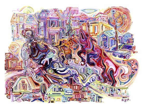 Two Unicorns Killing A Cyclops In The Suburbs-Josh Byer-Giclee Print