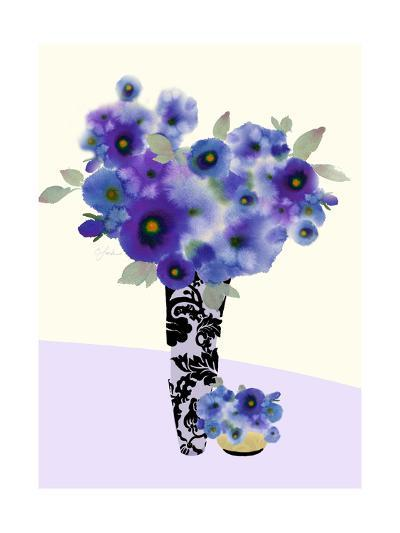 Two Vases Filled with Blue and Purple Flowers--Art Print