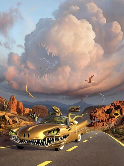 Two Velociraptors in their Scary Car Cruise a Prehistoric Landscape--Art Print