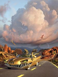 Two Velociraptors in their Scary Car Cruise a Prehistoric Landscape