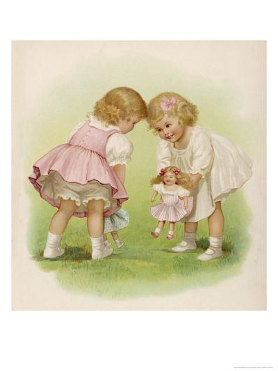 Two Very Small Girls Introduce Their Dolls to Each Other-Ida Waugh-Giclee Print