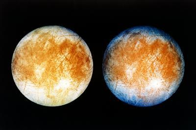 Two Views of Europa From the Galileo Spacecraft--Photographic Print
