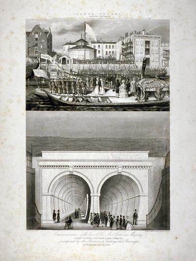 Two Views of the Thames Tunnel, Commemorating the Visit by Queen Victoria, London, 1843-T Brandon-Giclee Print