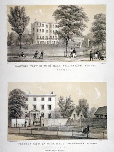 Two Views of Wick Hall Collegiate School, Hackney, London, C1830-TJ Rawlins-Giclee Print