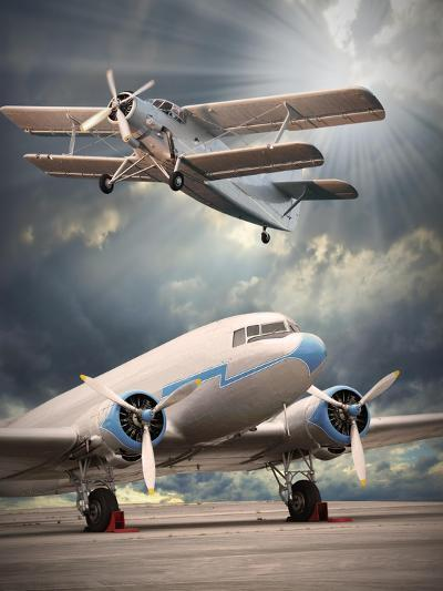 Two Vintage Aircraft On The Runway. Retro Style Picture-Kletr-Art Print