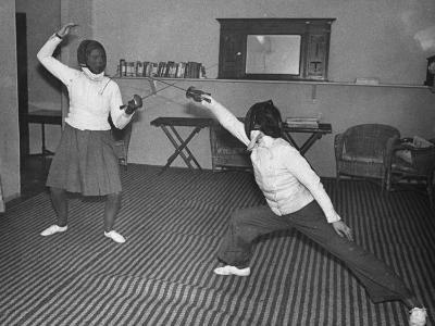 Two Waafs Fencing for Recreation During World War Ii-Robert Hunt-Photographic Print
