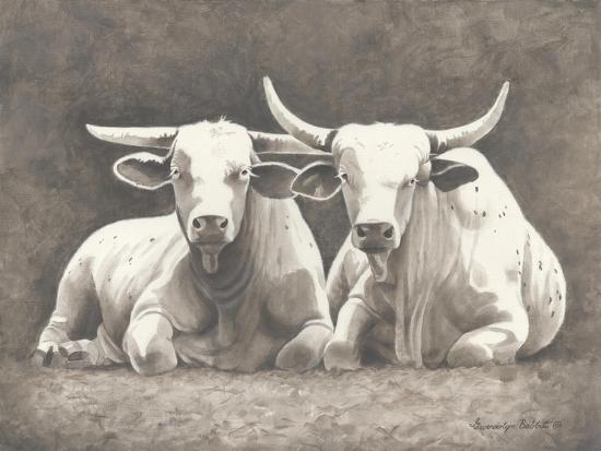 Two White Bulls-Gwendolyn Babbitt-Art Print
