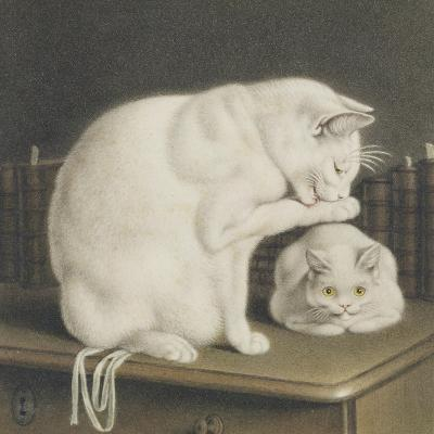 Two White Cats with Books on a Table-Gottfried Mind-Giclee Print