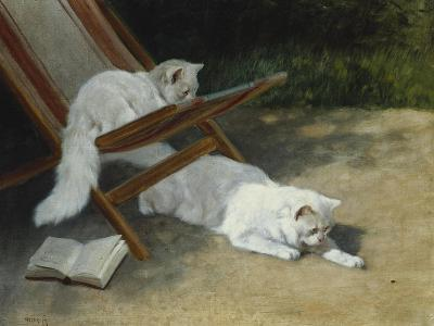 Two White Persian Cats with a Ladybird by a Deckchair, 19th Century-Arthur Heyer-Giclee Print