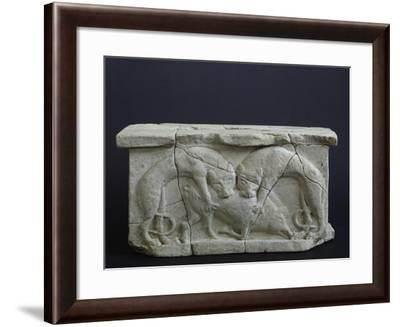 Two Wild Beasts Devouring their Prey, Relief from Terracotta Arula--Framed Giclee Print