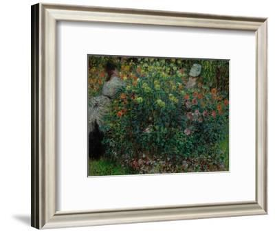 Two Women among the Flowers, 1875-Claude Monet-Framed Giclee Print