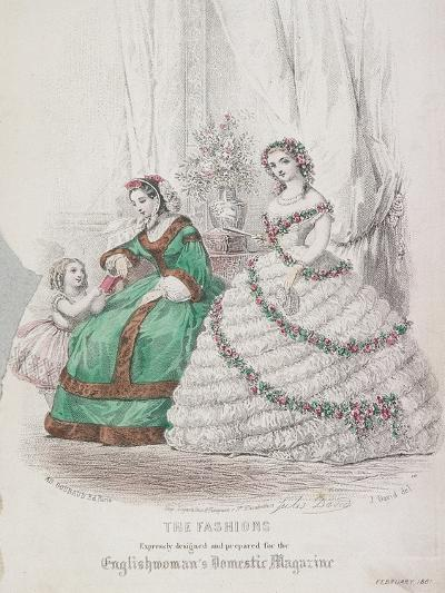 Two Women and a Child Wearing the Latest Fashions, 1861-Jules David-Giclee Print