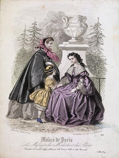 Two Women and a Child Wearing the Latest Fashions in a Garden Setting, 1858--Giclee Print