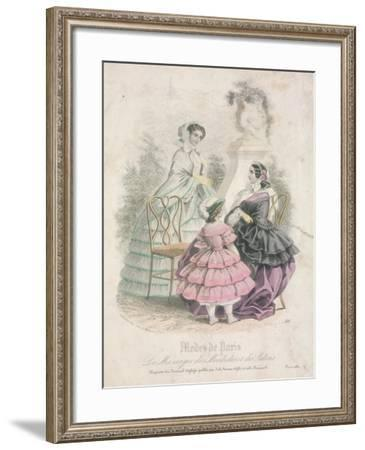 Two Women and a Child Wearing the Latest Fashions in a Garden Setting,1858--Framed Giclee Print