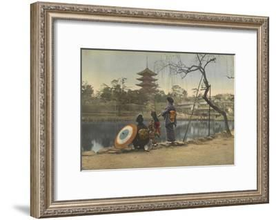 Two Women and a Young Girl Stand on the Banks of a Lake in Park-Kiyoshi Sakamoto-Framed Photographic Print