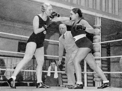 Two Women Box in a Ring, with a Referee Present--Photographic Print